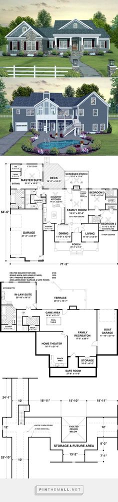 Boat Plans - Like layout of first floor but need coat closet by front door. Would change up layout of bottom floor - Master Boat Builder with 31 Years of Experience Finally Releases Archive Of 518 Illustrated, Step-By-Step Boat Plans Dream House Plans, House Floor Plans, My Dream Home, Dream Homes, House Design Plans, Basement House Plans, Basement Bedrooms, Ranch House Plans, Country House Plans