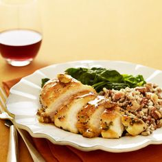 Maple syrup adds a sugary glaze to lean chicken breasts, while spinach, walnuts, and whole-grain pilaf deliver heart-boosting antioxidants and fiber. #myplate #protein #vegetables #grains