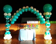 White and Aqua Balloon Arch