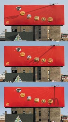 I think this is a great example of a marketing poster/board. McDonald's is using these three billboards with a sundial that points to various breakfast menu ideas and different times of the morning. Creative Advertising, Out Of Home Advertising, Advertising Design, Advertising Ideas, Ads Creative, Advertising Agency, Billboards Advertising, Guerilla Marketing, Street Marketing