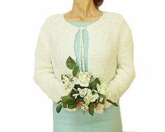 ON SALE // Handmade Knit Cardigan, Bridal Cardigan, Silvery, White, White Cardigan, Bridal Cardigan, Wedding Clothing, Bridal accessories