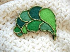 Green felt zipper leaves brooch pin by Mananko on Etsy, $24.00