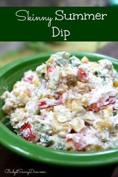 Skinny Summer Dip (1 red pepper 1 jalepeno 1 green bell pepper 1 can of corn 16 oz cream cheese 1/2 pkg hidden valley ranch dip mix 1 Tbs of pepper)
