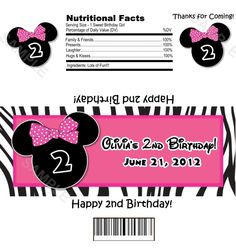 Mouse Ears Pink and Zebra Print Candy Bar Wrappers - DIGITAL - DIY Printable - Birthday, Baby Shower, Candy Wrapper, Mouse. $11.95, via Etsy.