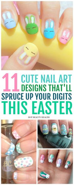 Here's a curated list of 11 DIY easter nail art designs with the hottest nail color shades for the spring season! They're easy to recreate and super fun to do. From simple ideas like pastel shades to easter eggs and cute bunnies, click pin to find a step by step tutorial for you! Hot Beauty Health #nailtutorials #easternaildesigns #naildesigns #nails