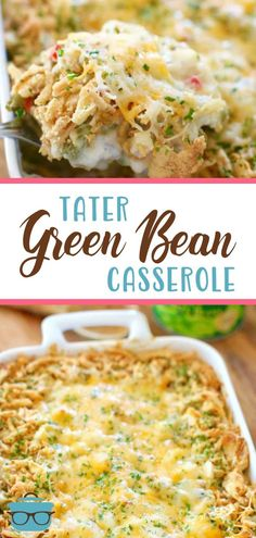Tater Green Bean Casserole is a simple twist on the classic casserole. Green beans, O'Brien potatoes, cream soup, cheese, and seasoning!