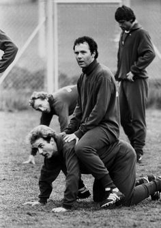 Franz Beckenbauer and Karl-Heinz Rummenigge, training their hearts out at Bayern in 1980.