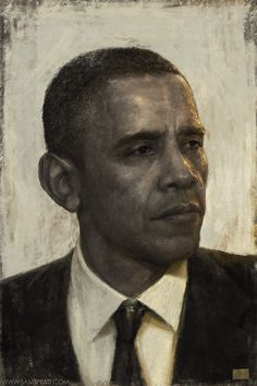 Portrait of Barack Obama by Sam Spratt. Like the use of color to highlight and warm up the drawing.