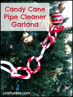 Candy Cane Pipe Cleaner Garland - fun fine motor practice by Craftulate