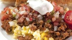 A container of leftover Old El Paso taco filling after a party is ripe with possibilities . . . and Breakfast?  Yes indeed!