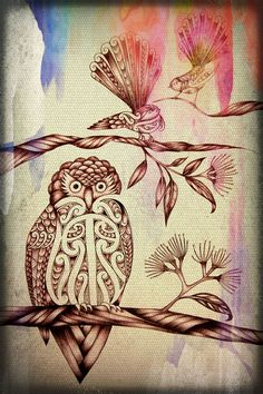 Sketch of the NZ Morepork and Fantails in a Pohutakawa tree. Doodles Zentangles, Art Maori, Maori Patterns, Polynesian Art, Maori Designs, New Zealand Art, Nz Art, Kiwiana, Sculpture Art