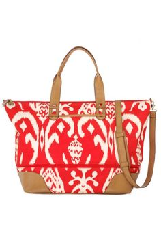 Getaway Red Ikat Weekender by Stella & Dot. Originally $138 but on sale today for $77!! #stelladotstyle