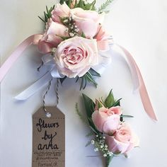 Blush pink corsage and boutonnière for a wedding or prom. @fleursbyanna