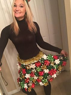Ugly Christmas Sweater product is great for those Ugly Christmas Sweater parties! This Christmas Bow skirt is a great way to make those Ugly Christmas Sweaters a little cuter! These are black flare skirts with bows and garland. They look so cute, but no way youd want to sit on the