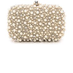 Santi Beaded Box Clutch (805 SAR) ❤ liked on Polyvore featuring bags, handbags, clutches, taupe, santi clutches, beaded handbag, kisslock purse, hardcase clutch and taupe handbag