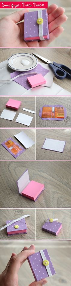 Porta Post-it...lembrancinhas Sticky Note Origami, Sticky Notes, Diy School, Diy Booklet, Cute Diys, Cute Crafts, Crafts For Kids, Arts And Crafts, Post It Art
