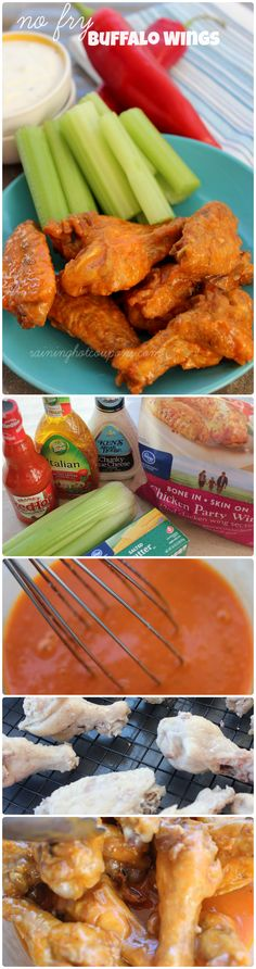 No Fry Buffalo Wings - (boil and then bake)… shall try it. 2 1/2 lb Chicken Wings; 1 tbsp Salt; 1 cup Frank's Red Hot Sauce; 1/2 cup melted Butter; 1/4 Wishbone Italian Salad Dressing. Boil chicken in water 9 minutes. Dry. In oven @ 450F for 25 minutes, then turn and bake 15 minutes more. Toss the chicken in the sauce to coat.
