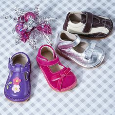 Little feet just got a lot more adorable. In a collection of shoes from Aldabella Scarpa & Izzy Bug Creations you'll find pairs created for wee, wobbly walkers. With removable squeakers, kiddos will learn proper foot placement for walking. Pair this with their high-quality materials and classic designs for a delightful pick for your growing tyke.