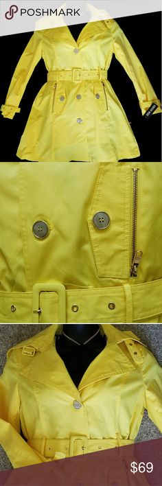 """STEVE MADDEN Single Breasted Hooded Trench CoatB New with tags. STEVE MADDEN Single Breasted Hooded Trench Coat  Bring on the spring showers! Sunny yellow, this single-breasted trench has you covered in style. A waist-defining belt accentuates the flattering fit-and-flare silhouette and gleaming hardware polishes the look.  35 1/2"""" length (size Medium).  Front button closure.  Detachable hood.  Belted cuffs.  Front zip pockets with button-flap detail.  Removable belt.  Lined.  55% cotton, 45…"""