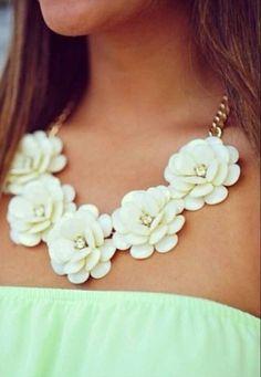 J. Crew inspired ivory rosette necklace. #preppy #jewelry