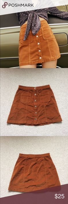 """LIKE NEW, Urban Outfitters corduroy skirt Worn only once! This cute skirt brings back 70 vibes; I absolutely love this skirt but honestly think it looks too big on my petite frame (5'3""""). Would recommend for people taller than me! Urban Outfitters Skirts Mini"""