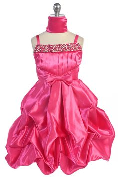 Fuchsia Elegant Soft Satin Pick-up Style Flower Girl Dress with Pearl & Sparkle  L4308-FU L4308-FU $60.95 on www.GirlsDressLine.Com