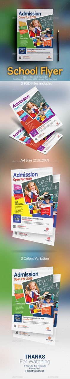 Buy School Admission Flyer by themexone on GraphicRiver. School Admission Flyer Template, Suitable for junior school or preschool theme. You can use this template for inform. School Admissions, Insert Image, Flyer Layout, Preschool Themes, Business Flyer Templates, Graphic Design Print, Corporate Flyer, Kids Prints, Print Templates