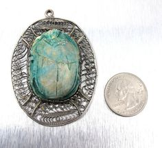 Egyptian Revival Scarab Pendant Huge Faience by TonettesTreasures