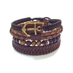 Pulseira masculina couro shambala pedras e âncora bracelet men's fashion moda homem