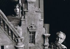 Tim Burton and Vincent Price behind the scenes.