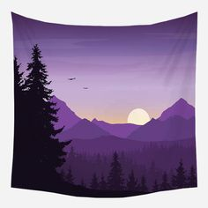 Purple Mountains Nature Tapestry Wall Hanging Tapis Cloth - 130*150cm