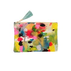 Hand Painted Abstract Clutch with Leather Tassel by kindah on Etsy