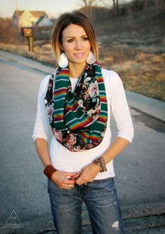 white shirt, Aztec tribal infinity scarf, ripped jeans, south west jewelry & cowboy boots