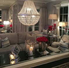 What  lovely room....I love the red accents with the neutral pallet. Living Room Holiday Decor, Red Living Rooms, Red Room Decor, Winter Living Room, Living Room Accents, Home Living Room, Living Room Designs, Living Room Inspiration, Living Room Chandeliers