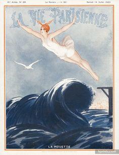 Armand Vallée 1923 La Mouette, Bathing Beauty Diving, La Vie Parisienne Cover