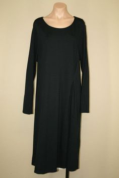 NEW J. Jill Black Stretch Side Pleat Long Sleeve Tea Midi Shift Dress size XL #JJill #Shift