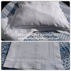 2 Victorian Plain White Pillow Cases Handmade French Metis Linen with Cut Works