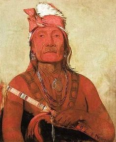 George Catlin - Chief Toh-Ki-e-to or Chief Stone with Horns of the Yankton Nakota Indian - 1832