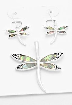 Abalone Embedded Dragonfly Pendant Set