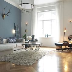 """die neue Wandfarbe """"Ruhe des Nordens"""" macht die L… Hello long weekend eee …. the new wall color Living Room Paint, Home Living Room, Apartment Living, Interior Design Living Room, Living Room Designs, Living Room Accent Wall, Blue Living Room Walls, Blue Feature Wall Living Room, Tree Interior"""