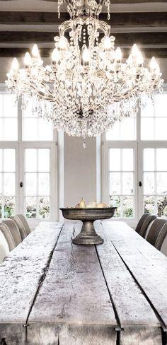 Chandelier makes casual dining set elegant