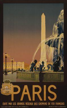 """Paris: Place de la Concorde. """"Edité par les grands réseaux des chemins de fer Français."""" This vintage travel poster shows Place de la Concorde in Paris, France. Illustrated by Julien Lacaze, circa 193"""