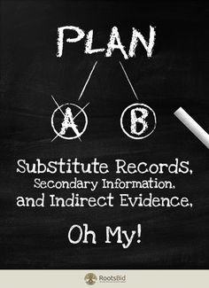 Substitute Records, Secondary Information, and Indirect Evidence, Oh My!