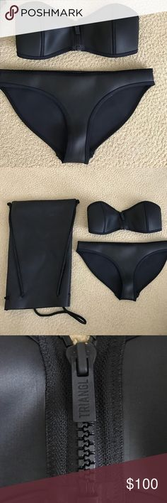 """Black """"Winnie"""" Triangl Swimsuit NWT: size small top and bottom. Black """"Winnie"""" strapless Triangl Swimsuit. Never worn and in perfect condition! Material is leather neoprene! Comes with the bag as well! Zipper on the top can be moved to open up in the front and it clips in the black! Selling because the size was too small for me! triangl swimwear Swim Bikinis"""