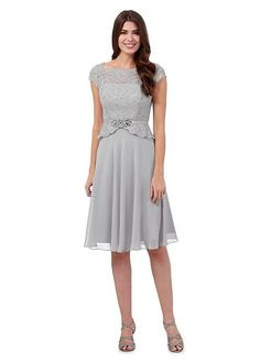 Marvelous Lace & Chiffon Bateau Neckline Knee-length A-line Mother of The Bride Dresses With Beadings