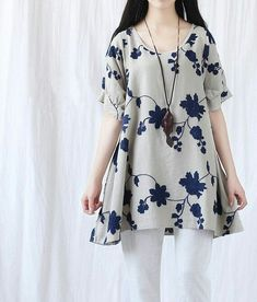 Summer loose fitting Long Shirt Women Short Sleeved by MaLieb Simple Dresses, Casual Dresses, Casual Outfits, Hijab Fashion, Girl Fashion, Fashion Dresses, Kurta Designs, Blouse Designs, Women's Dresses