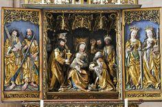 27O_0004 Heilsbronn Munster hoogaltaar 27108.jpg - Heilsbronner Münster hoogaltaar in het koor ± 1504 links Simon met zaag en Andreas met kr...
