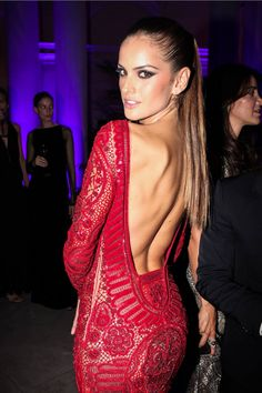 Red gown and deep back