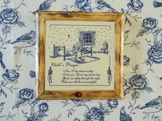 """Framed Child's Prayer """"Now I lay down to sleep..""""  Gift for Child ~ Dedication ~ Christening ~ Nursery Wall Decor ~ #Mixed Media Wall Art - pinned by pin4etsy.com"""