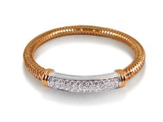 Roberto Coin Primavera Diamond Bangle Bracelet, Fashioned in 18K White and Rose Gold, Featuring Thirty-Four Round Diamonds =1.45cts Total Weight
